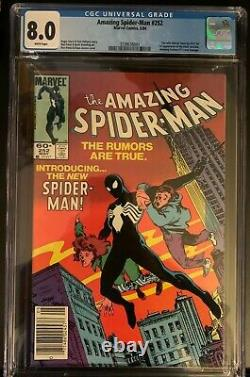 Amazing Spider-Man #252 CGC 8.0 VF White Pages 1ST Black Suit Key Issue Newstand