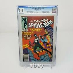 Amazing Spiderman 252 1st Black Suit CGC 8.5 Newsstand White Pages 1984 Marvel