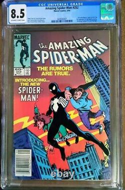 Amazing Spiderman 252-First Black Suit Spiderman, CGC 8.5. OW-W Pages Newsstand