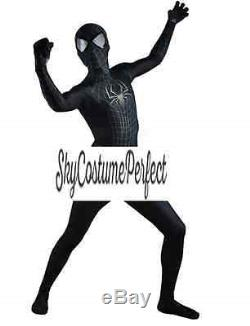 Black Suit Spiderman Peter Parker Costume Cosplay FREE SHIP Disney Marvel