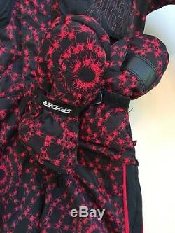 Spyder Youth Spider-Man Ski Suit Snowsuit Black Red Small To Tall Size 4 Mitts